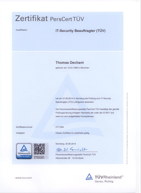 TÜV Zertifikat IT-Sicherheit IT-Security